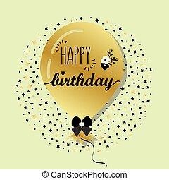 Golden Happy Birthday balloon - Golden flying helium Happy...