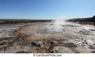 Strokkur Geyser erupting at the Haukadalur geothermal area...