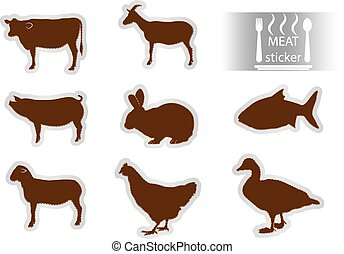 Meat stickers set