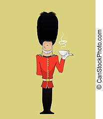 British Soldier illustration - British Soldier drinks tea...