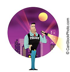 Policeman vector illustration - Policeman character with...