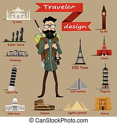 Guy with  backpack and travel icons