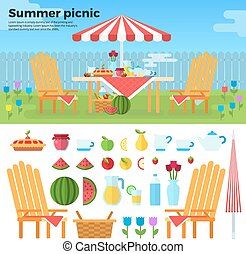 Summer Picnic and Icons of Foods - Summer picnic in garden...