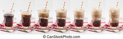 Root beer float - Collage image of Root beer with vanilla...