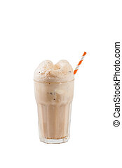 Root beer float - Root beer with vanilla ice cream isolated...