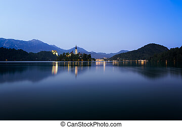 Dawn at lake Bled with blue skies, Slovenia