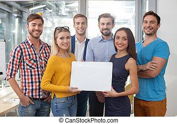 trabajo, creativo, su, presentación, equipo, profesional