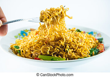 fried noodles on white background.
