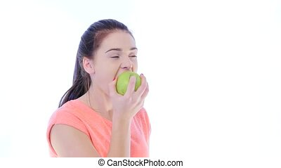 Girl Bites and Chews an Apple