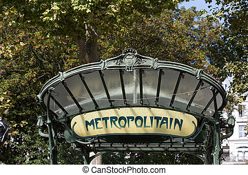 Paris - Famous Art Nouveau sign for the Metropolitain...