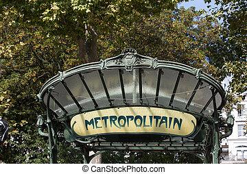 Paris - Famous Art Nouveau sign for the Metropolitain...