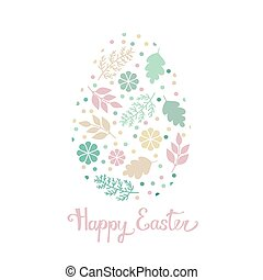 Greeting card Easter egg with pattern