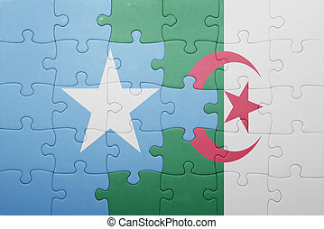 puzzle with the national flag of algeria and somalia concept...