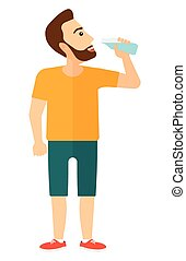 Man drinking water. - A sportive man drinking water vector...