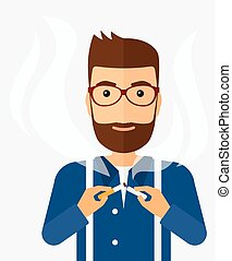 Man quit smoking - A happy hipster man breaking the...