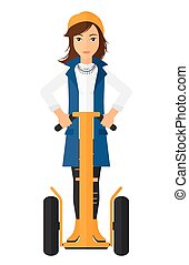Woman riding on segway. - A woman riding on segway vector...