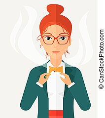 Woman quit smoking - A happy woman breaking the cigarette...