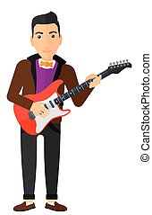 Musician playing electric guitar - A smiling musician...