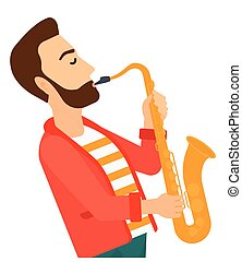 Man playing saxophone.