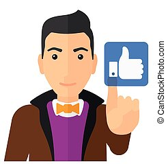 Man pressing like button - A man pressing like button vector...