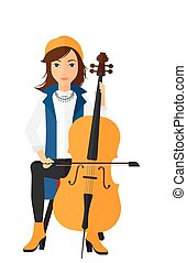 Woman playing cello - A woman playing cello vector flat...
