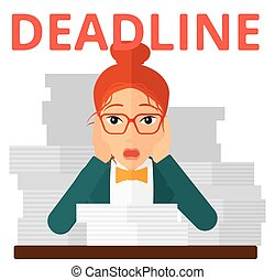 Woman having problem with deadline - A scared woman holding...