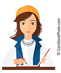 Reporter with writing-pad. - A reporter writing an article...