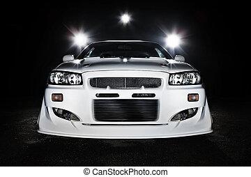 race car night scene