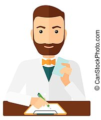 Pharmacist taking notes - A pharmacist taking notes and...