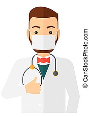 Confident doctor in mask - A doctor in mask with stethoscope...
