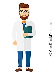 Doctor holding file - A happy doctor holding a file vector...