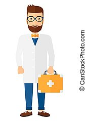 Doctor with first aid box.