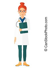 Doctor with stethoscope and file - A happy doctor with...