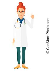 Doctor showing finger up - A happy doctor in medical gown...