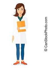 Doctor holding file. - A happy doctor holding a file vector...