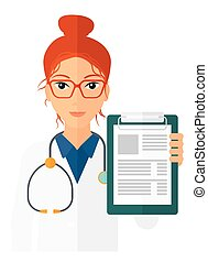 Doctor holding medical notepad. - A doctor holding medical...
