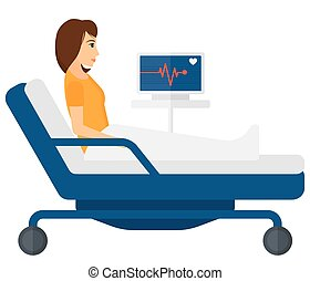 Patient lying in bed with heart monitor - A patient lying in...