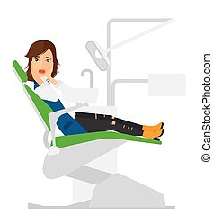 Frightened patient in dental chair. - A frightened patient...