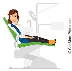 Woman suffering in dental chair - A patient sitting in...