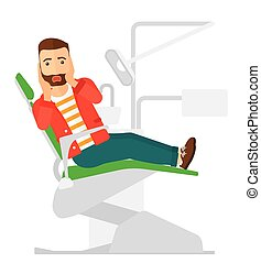 Frightened patient in dental chair - A frightened patient...