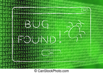 flat illustraion of a funny pop-up about a bug found -...