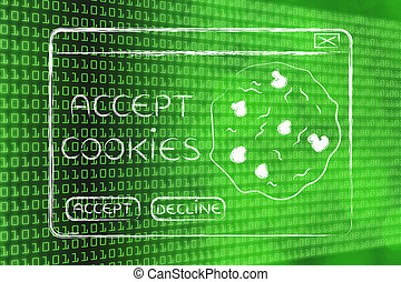 flat illustraion of a funny pop-up about browser cookies -...