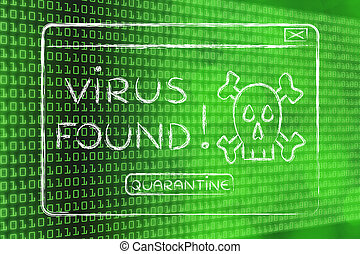 flat illustraion of a funny pop-up about a virus found -...