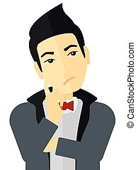 Doubtful young man - Doubtful young man vector flat design...