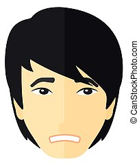 Young embarrassed man. - Young embarrassed man vector flat...