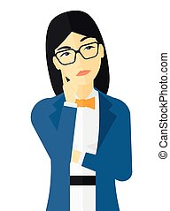 Doubtful young woman - Doubtful young woman vector flat...