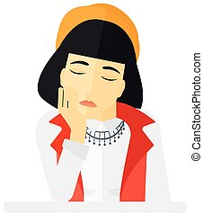 Young depressed woman. - Young depressed woman vector flat...
