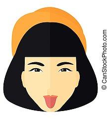 Contemptuous woman sticking out her tongue - Contemptuous...