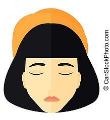 Grieving woman with eyes closed. - Grieving woman with eyes...