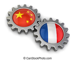 Chinese and French flags on a gears Image with clipping path...